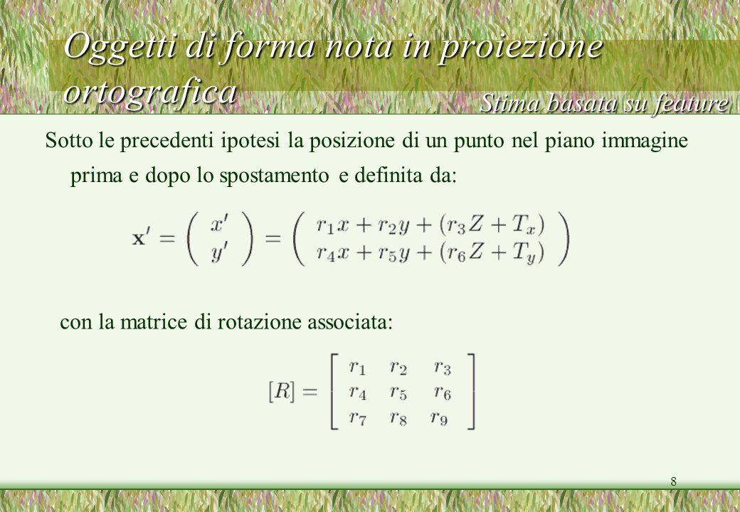 9 Oggetti di forma nota in proiezione ortografica Secondo il vettore di traslazione e lequazione Stima basata su feature le precedenti rappresentano il mappaggio affine del punto x dellimmagine k nel punto x dellimmagine k+1 Ora, linearizzando secondo Otteniamo la relazione affine