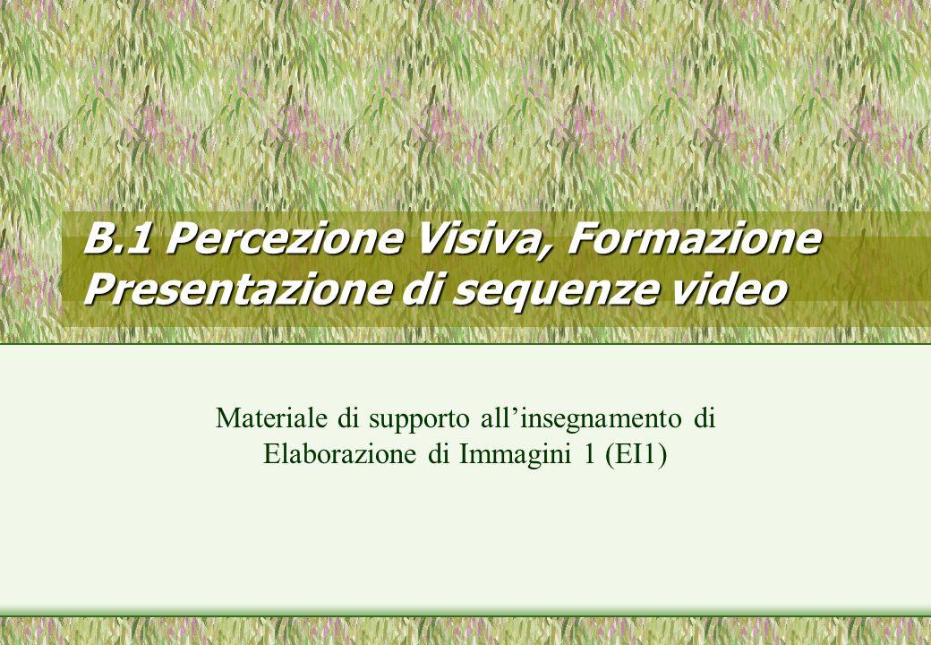 B.1 Percezione Visiva, Formazione Presentazione di sequenze video Materiale di supporto allinsegnamento di Elaborazione di Immagini 1 (EI1)
