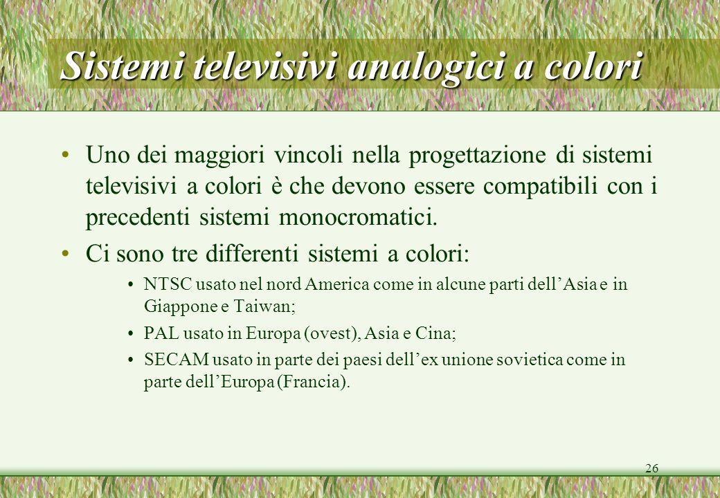 26 Sistemi televisivi analogici a colori Uno dei maggiori vincoli nella progettazione di sistemi televisivi a colori è che devono essere compatibili c
