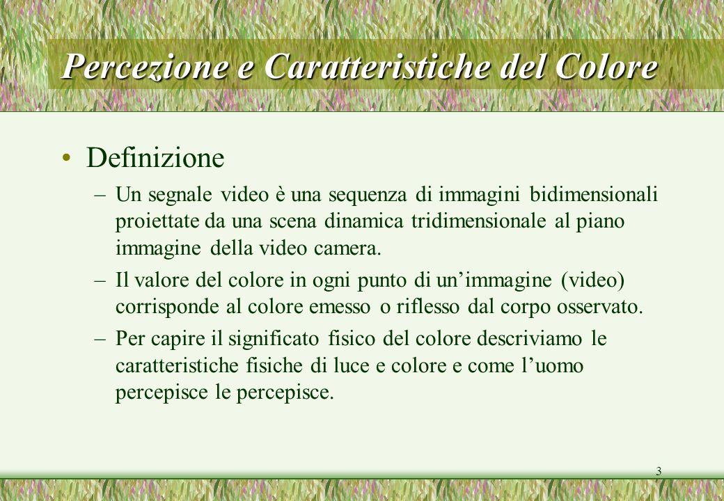 3 Percezione e Caratteristiche del Colore Definizione –Un segnale video è una sequenza di immagini bidimensionali proiettate da una scena dinamica tri