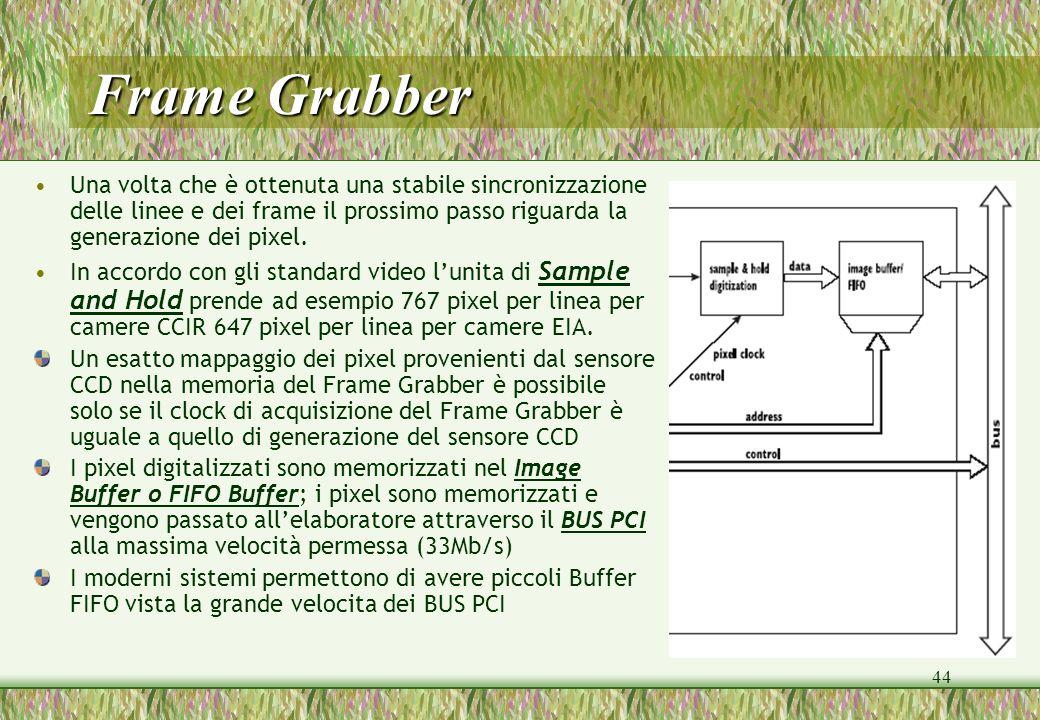 44 Frame Grabber Una volta che è ottenuta una stabile sincronizzazione delle linee e dei frame il prossimo passo riguarda la generazione dei pixel. In