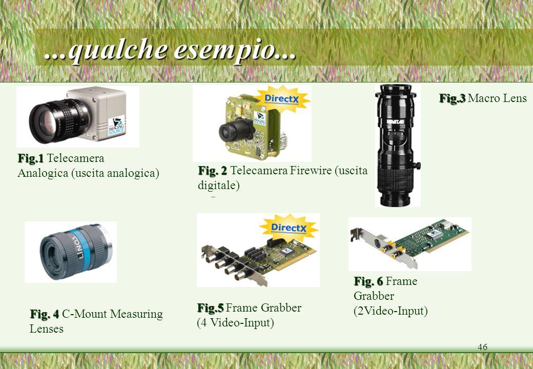 46...qualche esempio... Fig. 2 Fig. 2 Telecamera Firewire (uscita digitale) Fig.1 Fig.1 Telecamera Analogica (uscita analogica) Fig. 4 Fig. 4 C-Mount