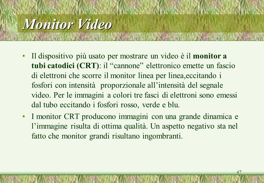47 Monitor Video Il dispositivo più usato per mostrare un video è il monitor a tubi catodici (CRT): il cannone elettronico emette un fascio di elettro