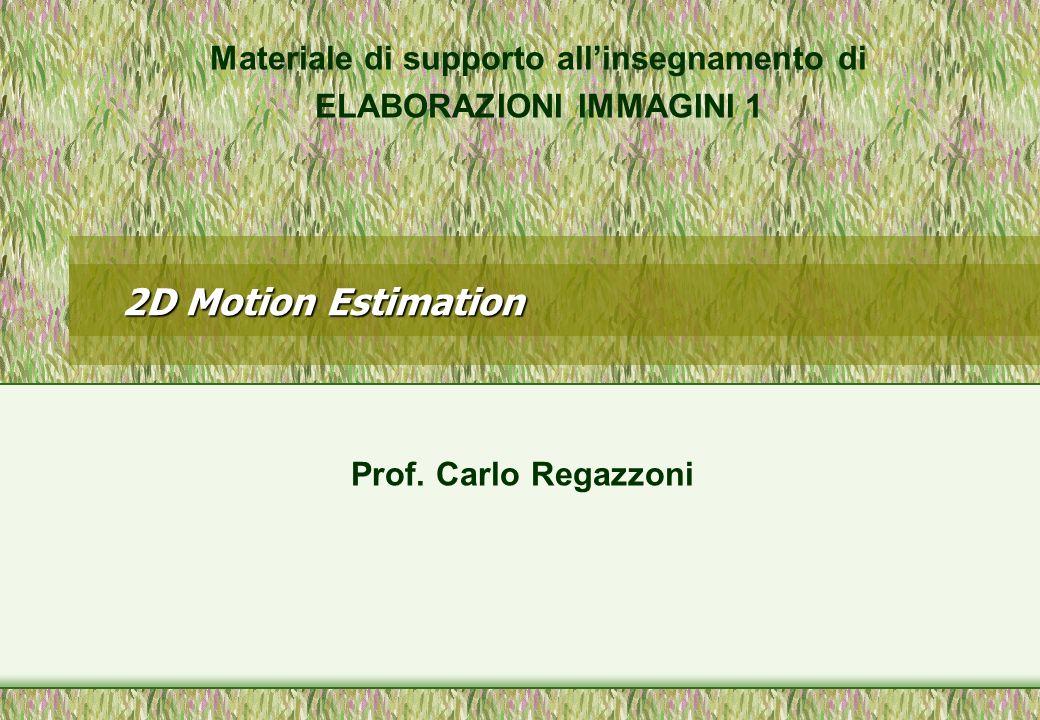 2D Motion Estimation Materiale di supporto allinsegnamento di ELABORAZIONI IMMAGINI 1 Prof. Carlo Regazzoni