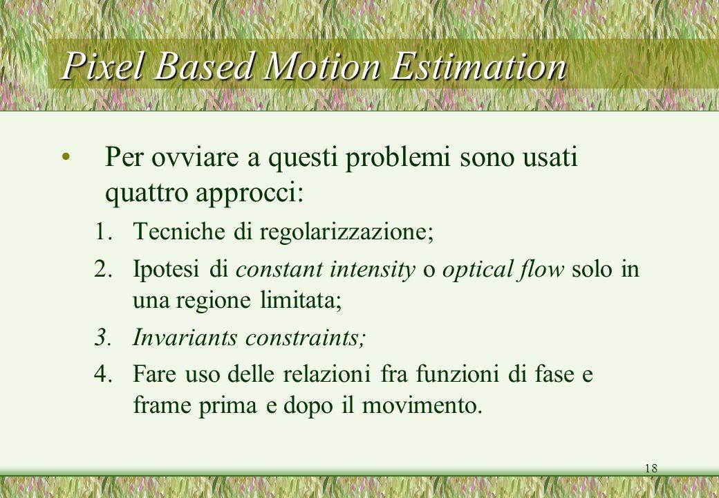 18 Pixel Based Motion Estimation Per ovviare a questi problemi sono usati quattro approcci: 1.Tecniche di regolarizzazione; 2.Ipotesi di constant inte