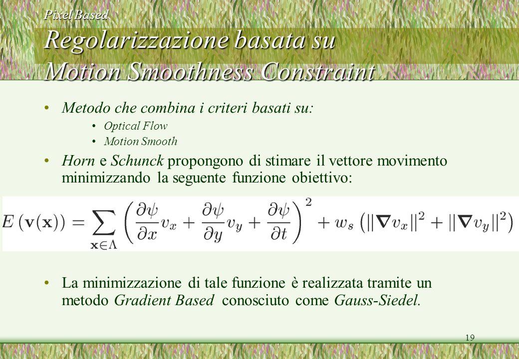 19 Pixel Based Regolarizzazione basata su Motion Smoothness Constraint Metodo che combina i criteri basati su: Optical Flow Motion Smooth Horn e Schun