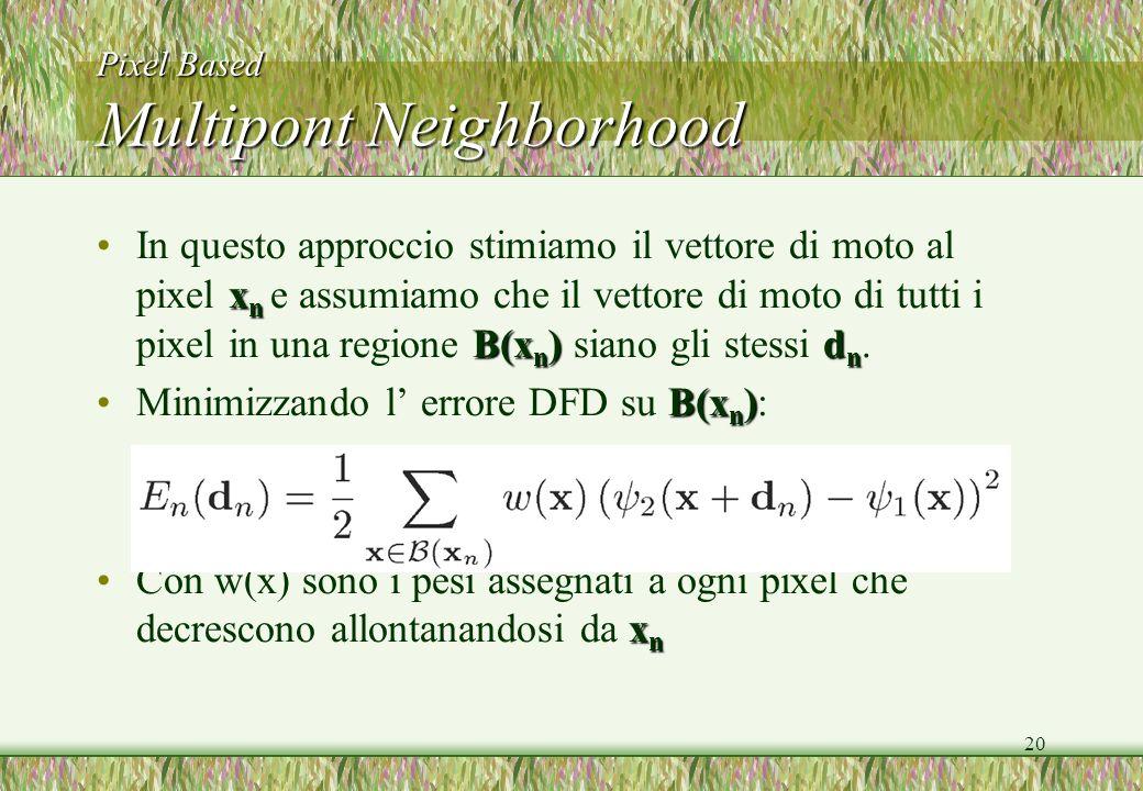 20 Pixel Based Multipont Neighborhood x n B(x n )d nIn questo approccio stimiamo il vettore di moto al pixel x n e assumiamo che il vettore di moto di