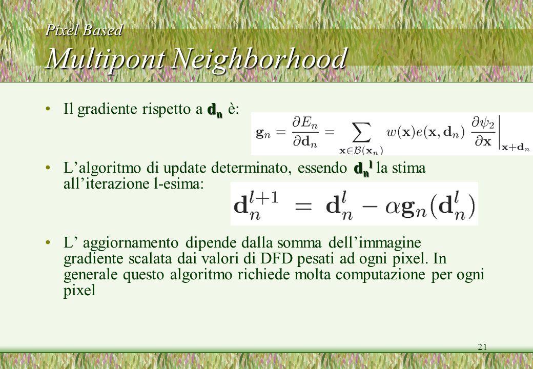 21 Pixel Based Multipont Neighborhood d nIl gradiente rispetto a d n è: d n lLalgoritmo di update determinato, essendo d n l la stima alliterazione l-