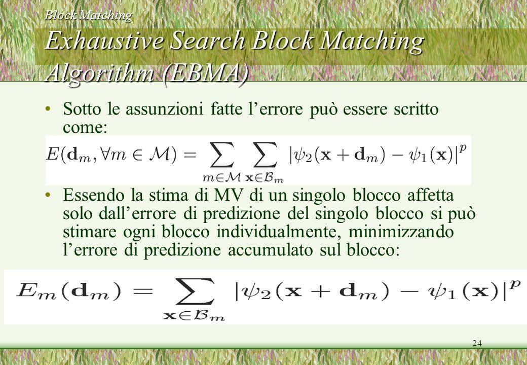 24 Block Matching Exhaustive Search Block Matching Algorithm (EBMA) Sotto le assunzioni fatte lerrore può essere scritto come: Essendo la stima di MV