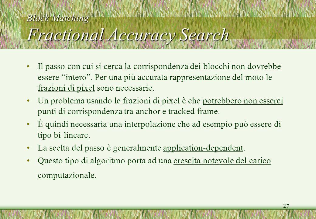 27 Block Matching Fractional Accuracy Search Il passo con cui si cerca la corrispondenza dei blocchi non dovrebbe essere intero. Per una più accurata