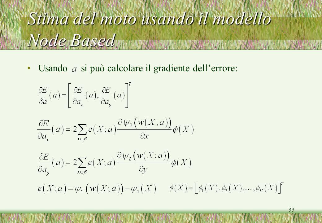 33 Usando si può calcolare il gradiente dellerrore: Stima del moto usando il modello Node Based