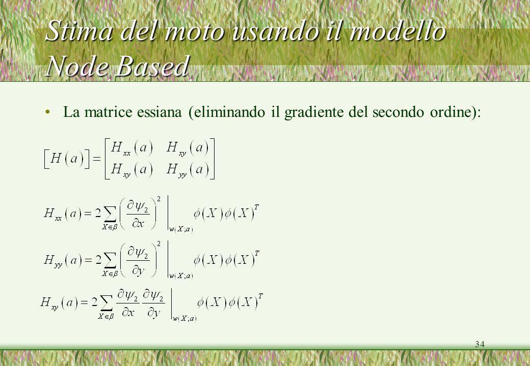 34 Stima del moto usando il modello Node Based La matrice essiana (eliminando il gradiente del secondo ordine):