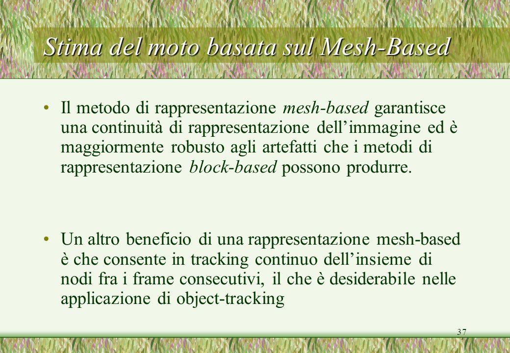 37 Stima del moto basata sul Mesh-Based Il metodo di rappresentazione mesh-based garantisce una continuità di rappresentazione dellimmagine ed è maggi