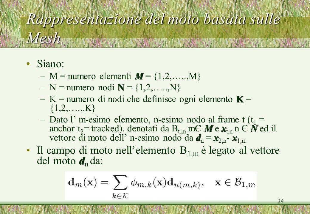 39 Rappresentazione del moto basata sulle Mesh Siano: M –M = numero elementi M = {1,2,…..,M} N –N = numero nodi N = {1,2,…..,N} K –K = numero di nodi