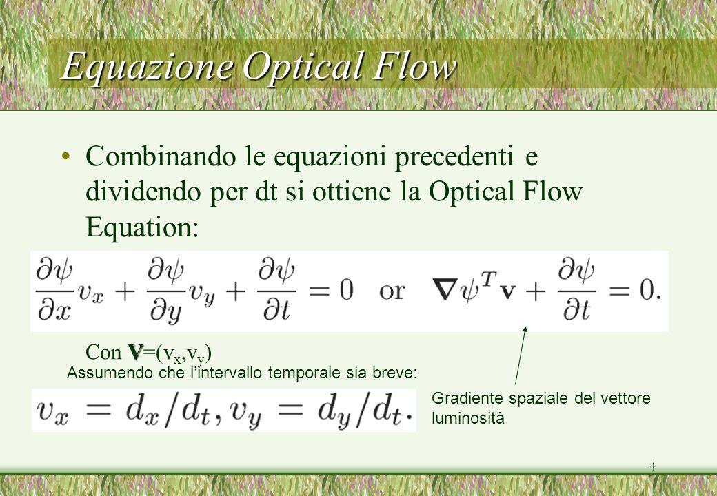4 Equazione Optical Flow Combinando le equazioni precedenti e dividendo per dt si ottiene la Optical Flow Equation: Gradiente spaziale del vettore lum