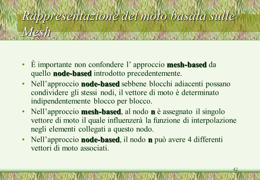 42 Rappresentazione del moto basata sulle Mesh mesh-based node-basedÈ importante non confondere l approccio mesh-based da quello node-based introdotto