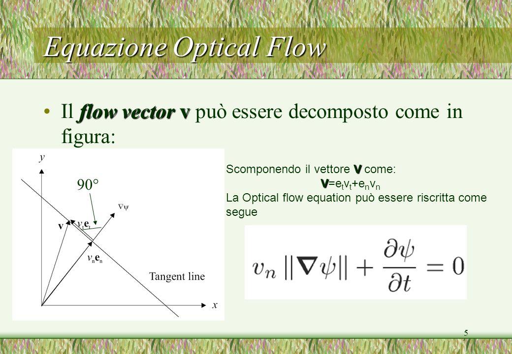 5 Equazione Optical Flow flow vectorvIl flow vector v può essere decomposto come in figura: V Scomponendo il vettore V come: V V=e t v t +e n v n La O