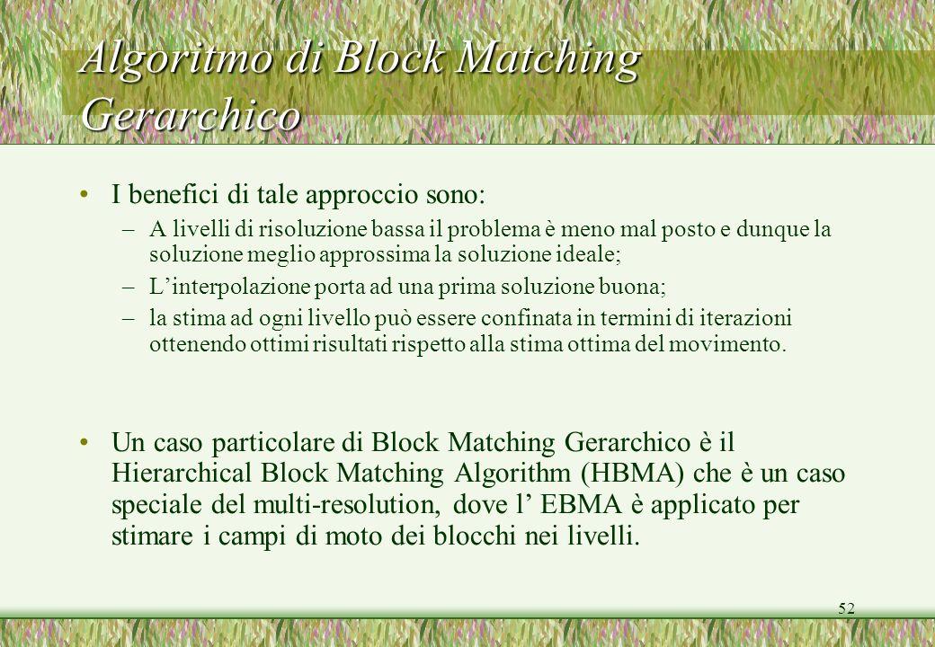 52 Algoritmo di Block Matching Gerarchico I benefici di tale approccio sono: –A livelli di risoluzione bassa il problema è meno mal posto e dunque la