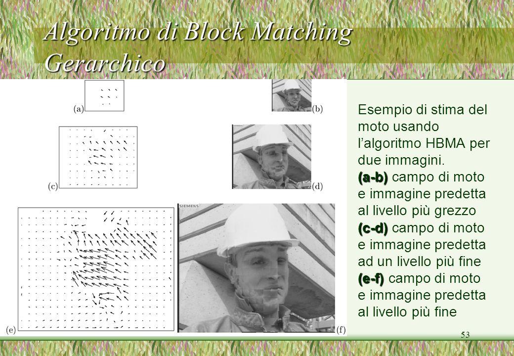 53 Algoritmo di Block Matching Gerarchico Esempio di stima del moto usando lalgoritmo HBMA per due immagini. (a-b) (a-b) campo di moto e immagine pred