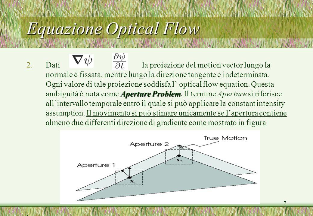 7 Equazione Optical Flow Aperture Problem 2.Dati la proiezione del motion vector lungo la normale è fissata, mentre lungo la direzione tangente è inde
