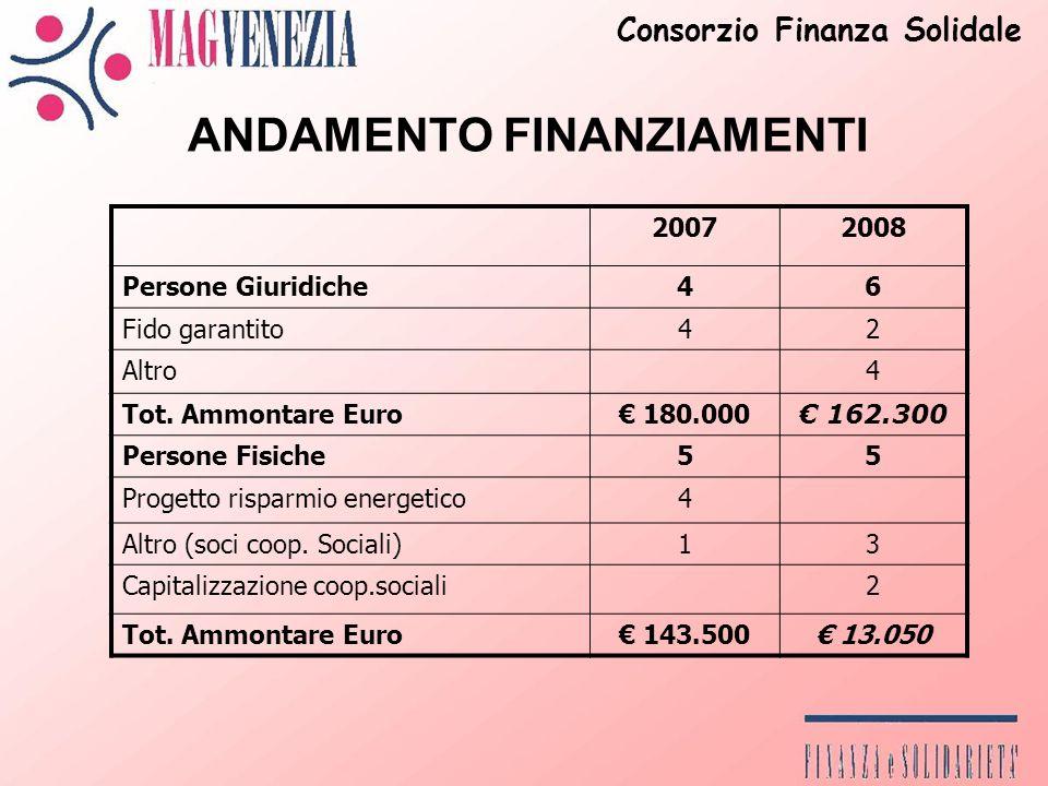 ANDAMENTO FINANZIAMENTI 20072008 Persone Giuridiche46 Fido garantito42 Altro4 Tot.