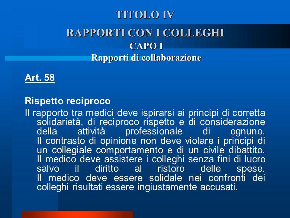 TITOLO IV RAPPORTI CON I COLLEGHI CAPO I Rapporti di collaborazione Art. 58 Rispetto reciproco  Il rapporto tra medici deve ispirarsi ai principi di