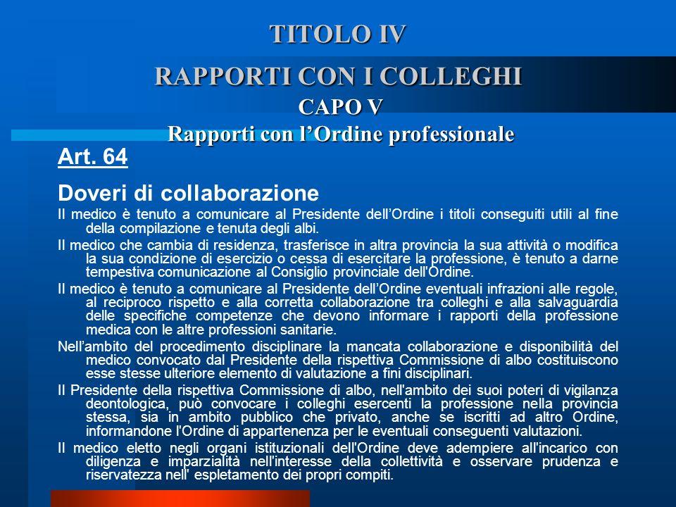 TITOLO IV RAPPORTI CON I COLLEGHI CAPO V Rapporti con lOrdine professionale Art. 64 Doveri di collaborazione  Il medico è tenuto a comunicare al Pre