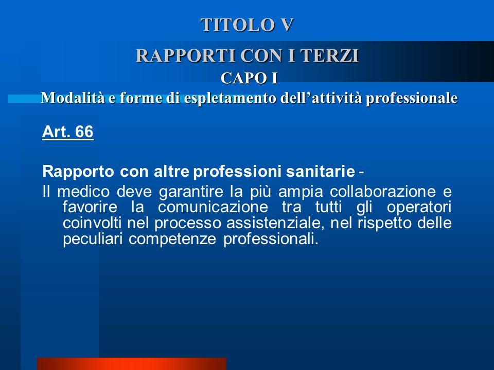 TITOLO V RAPPORTI CON I TERZI CAPO I Modalità e forme di espletamento dellattività professionale Art. 66 Rapporto con altre professioni sanitarie - I