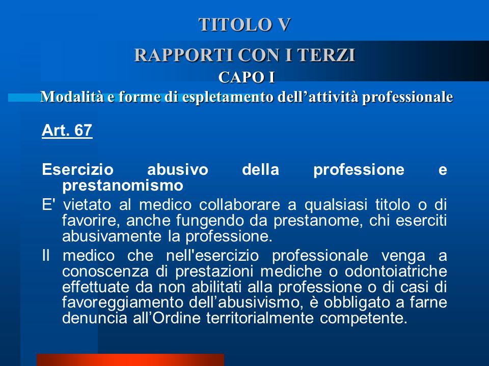 TITOLO V RAPPORTI CON I TERZI CAPO I Modalità e forme di espletamento dellattività professionale Art. 67 Esercizio abusivo della professione e presta