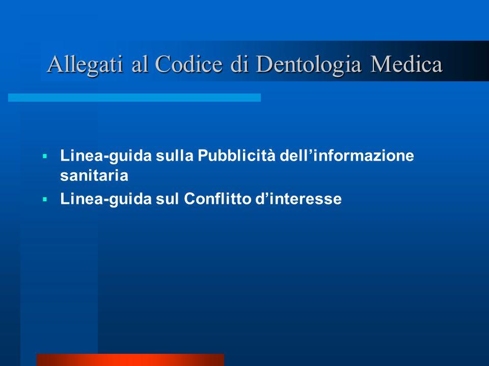 Allegati al Codice di Dentologia Medica Linea-guida sulla Pubblicità dellinformazione sanitaria Linea-guida sul Conflitto dinteresse