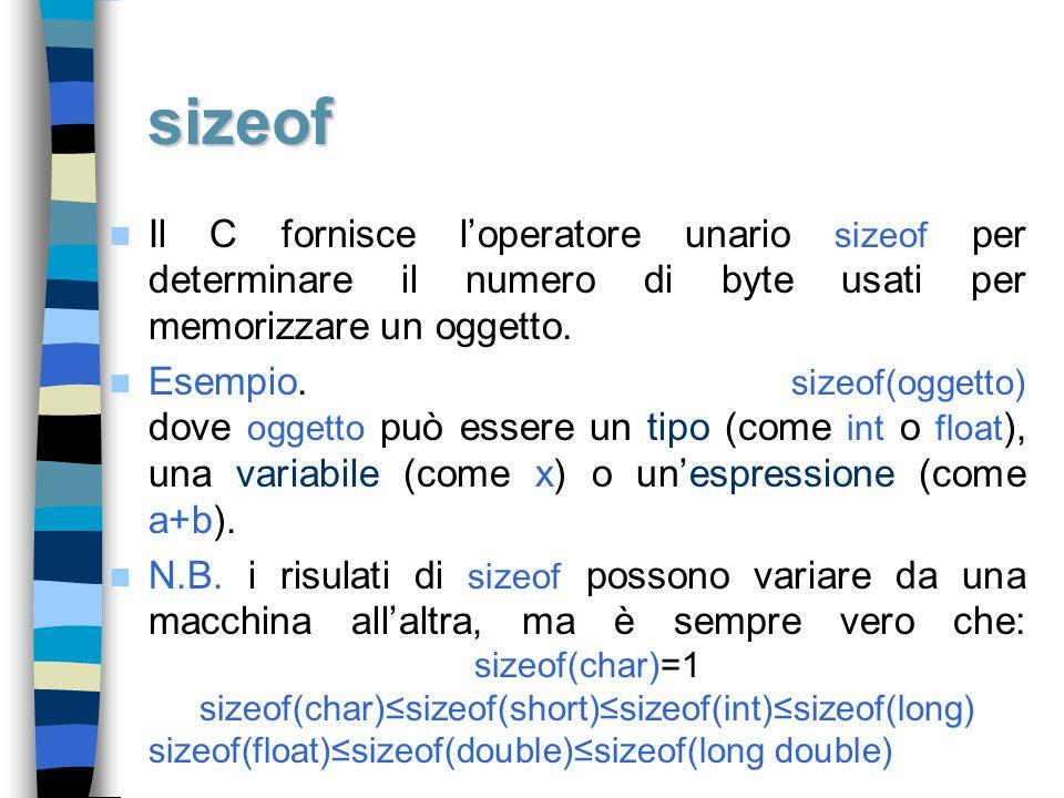 sizeof Il C fornisce loperatore unario sizeof per determinare il numero di byte usati per memorizzare un oggetto. Esempio. sizeof(oggetto) dove oggett