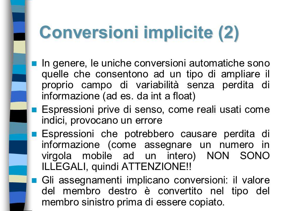 Conversioni implicite (2) In genere, le uniche conversioni automatiche sono quelle che consentono ad un tipo di ampliare il proprio campo di variabili