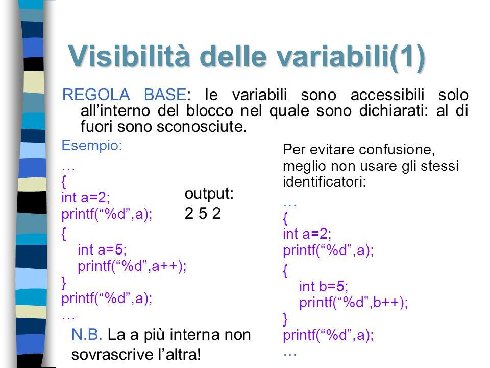 Visibilità delle variabili(1) REGOLA BASE: le variabili sono accessibili solo allinterno del blocco nel quale sono dichiarati: al di fuori sono sconos