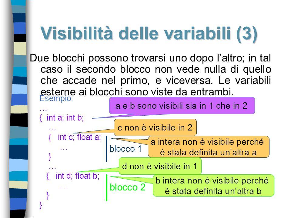 Visibilità delle variabili (3) Due blocchi possono trovarsi uno dopo laltro; in tal caso il secondo blocco non vede nulla di quello che accade nel pri
