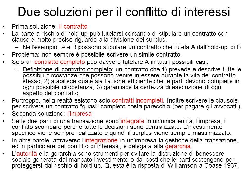 Due soluzioni per il conflitto di interessi Prima soluzione: il contratto La parte a rischio di hold-up può tutelarsi cercando di stipulare un contrat
