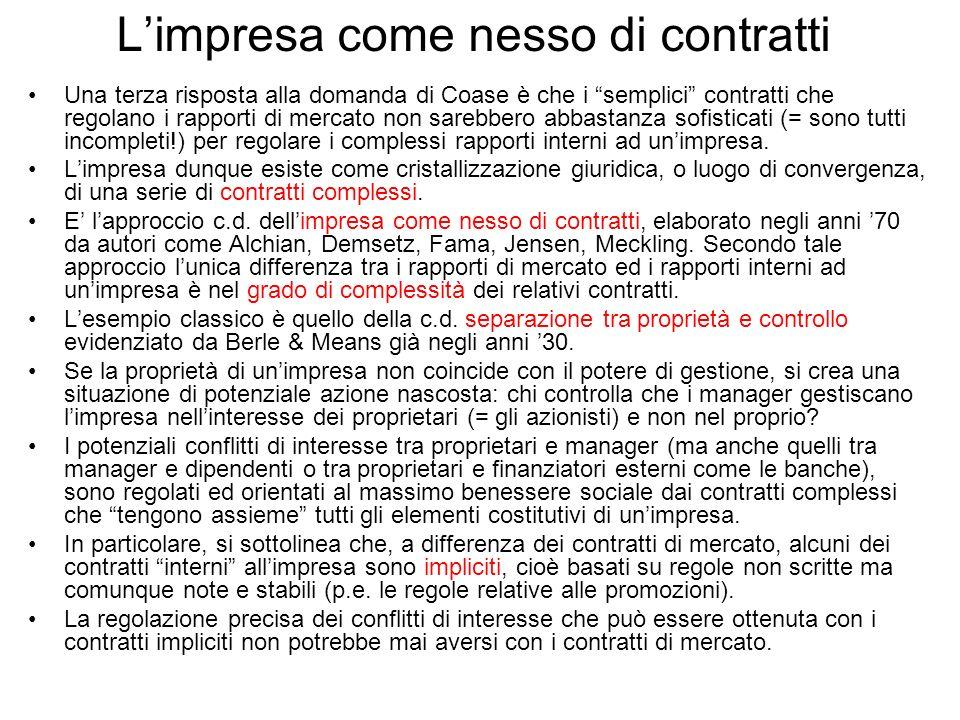 Limpresa come nesso di contratti Una terza risposta alla domanda di Coase è che i semplici contratti che regolano i rapporti di mercato non sarebbero
