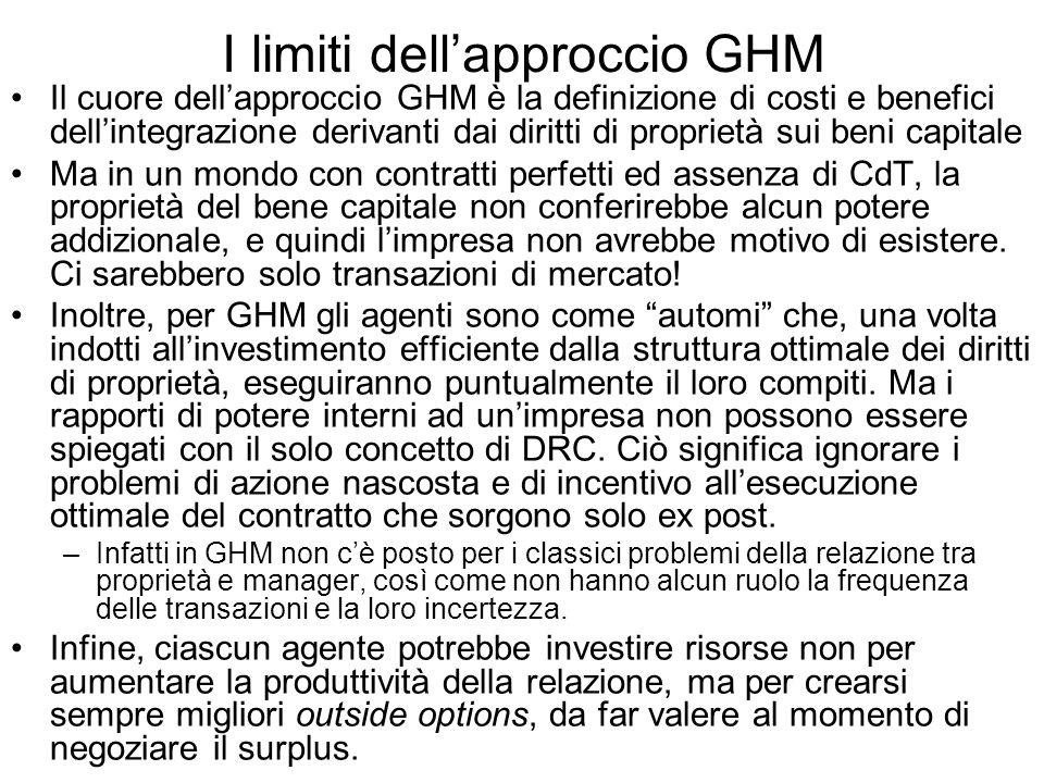 I limiti dellapproccio GHM Il cuore dellapproccio GHM è la definizione di costi e benefici dellintegrazione derivanti dai diritti di proprietà sui ben