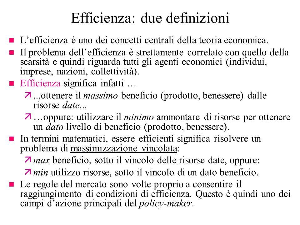Efficienza: due definizioni n Lefficienza è uno dei concetti centrali della teoria economica. n Il problema dellefficienza è strettamente correlato co