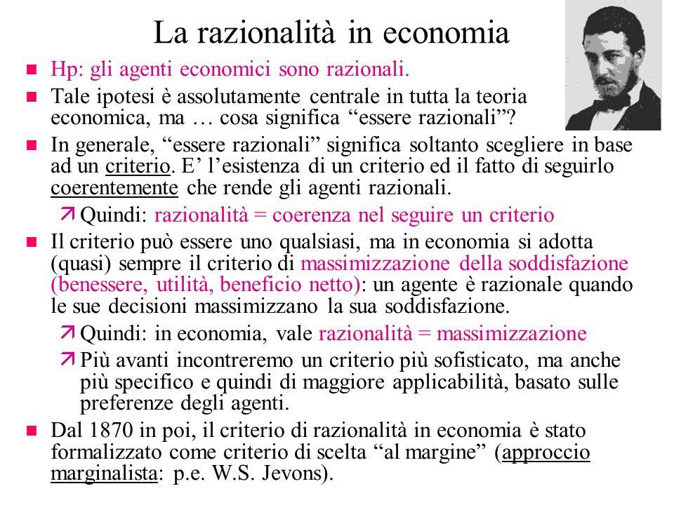 La razionalità in economia n Hp: gli agenti economici sono razionali. n Tale ipotesi è assolutamente centrale in tutta la teoria economica, ma … cosa