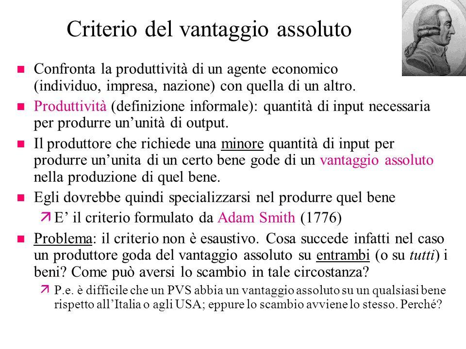 Criterio del vantaggio assoluto n Confronta la produttività di un agente economico (individuo, impresa, nazione) con quella di un altro. n Produttivit