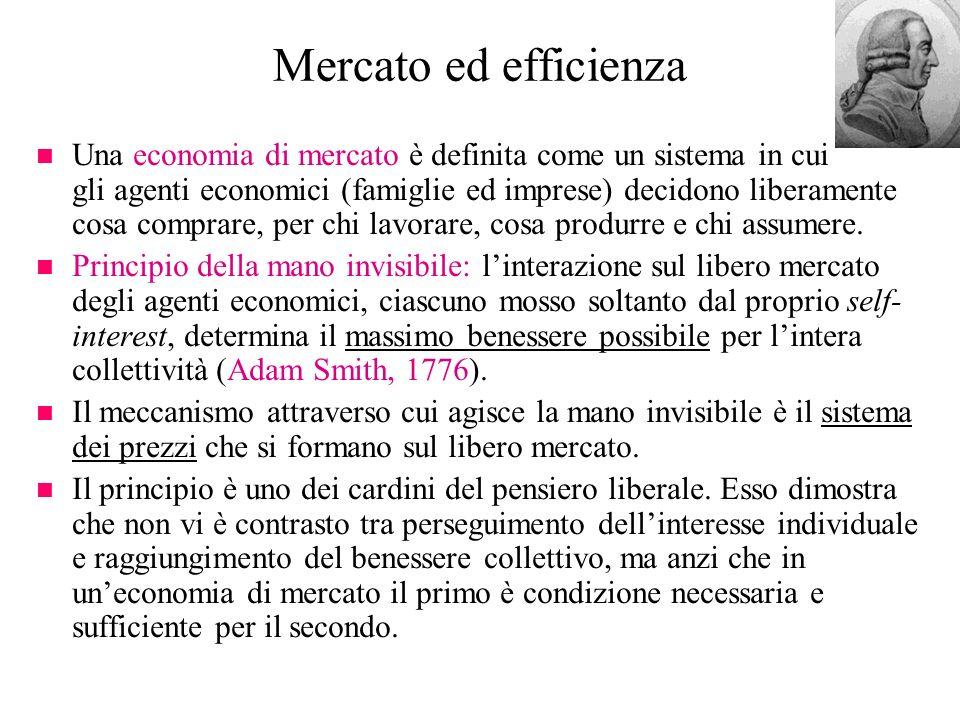 Mercato ed efficienza n Una economia di mercato è definita come un sistema in cui gli agenti economici (famiglie ed imprese) decidono liberamente cosa