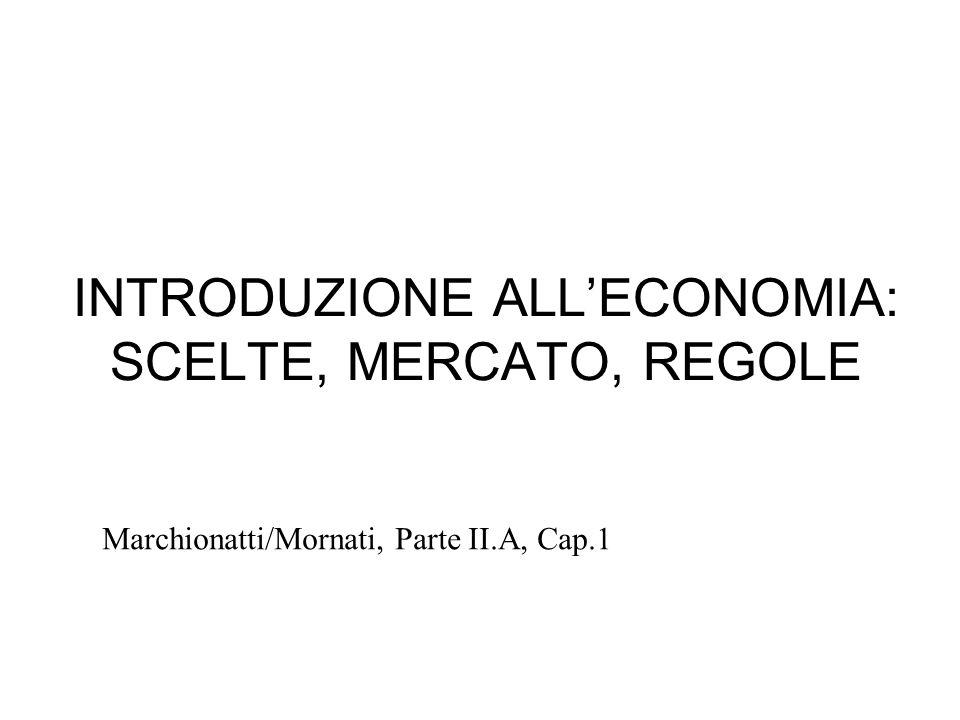 INTRODUZIONE ALLECONOMIA: SCELTE, MERCATO, REGOLE Marchionatti/Mornati, Parte II.A, Cap.1