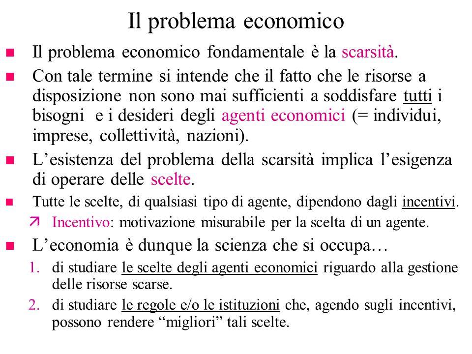 Due definizioni di economia n Definizione di Robbins (1932): leconomia è la scienza che studia le decisioni di allocazione di mezzi scarsi per lottenimento di fini alternativi.