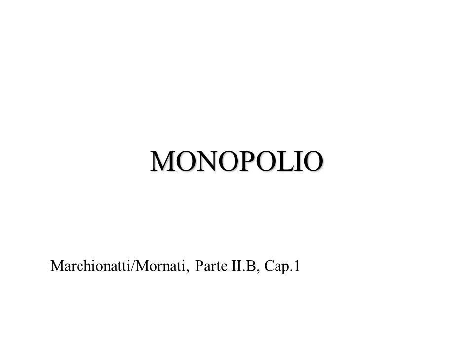 Monopolio versus concorrenza perfetta (2) Ottimo per limpresa PC: P = RM = CM Ottimo per il monopolista: P > RM = CM Lextra- del monopolista è pari a: = (P – CMeT) Q * Tre osservazioni: –La differenza tra P e CM, rapportata a P, è una misura del potere di mercato di cui gode limpresa.