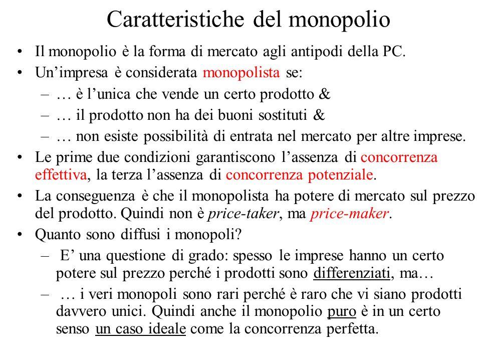 Caratteristiche del monopolio Il monopolio è la forma di mercato agli antipodi della PC.