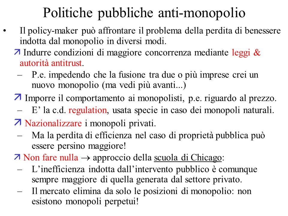 Politiche pubbliche anti-monopolio Il policy-maker può affrontare il problema della perdita di benessere indotta dal monopolio in diversi modi.