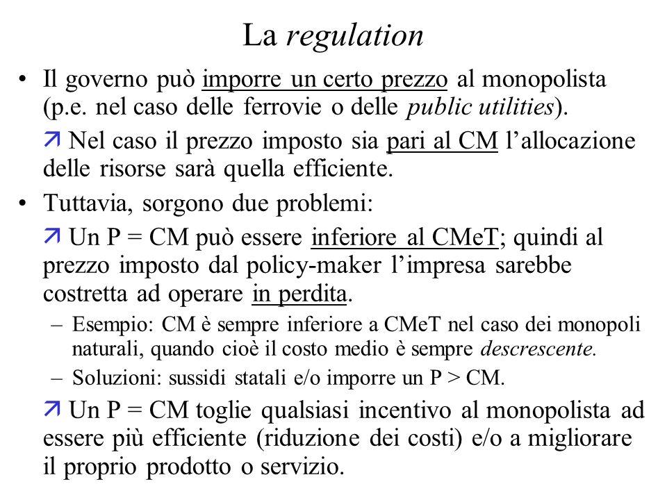 La regulation Il governo può imporre un certo prezzo al monopolista (p.e.