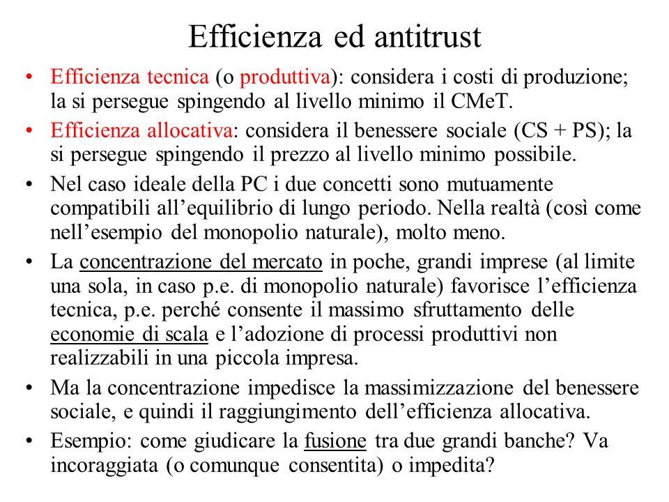 Efficienza ed antitrust Efficienza tecnica (o produttiva): considera i costi di produzione; la si persegue spingendo al livello minimo il CMeT.