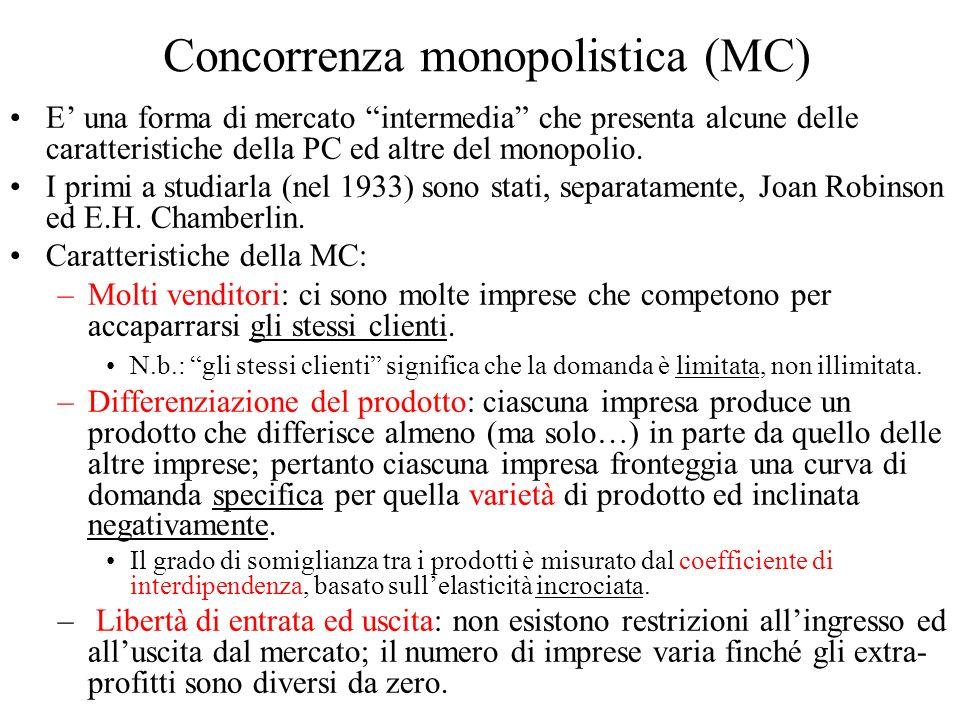 Concorrenza monopolistica (MC) E una forma di mercato intermedia che presenta alcune delle caratteristiche della PC ed altre del monopolio.