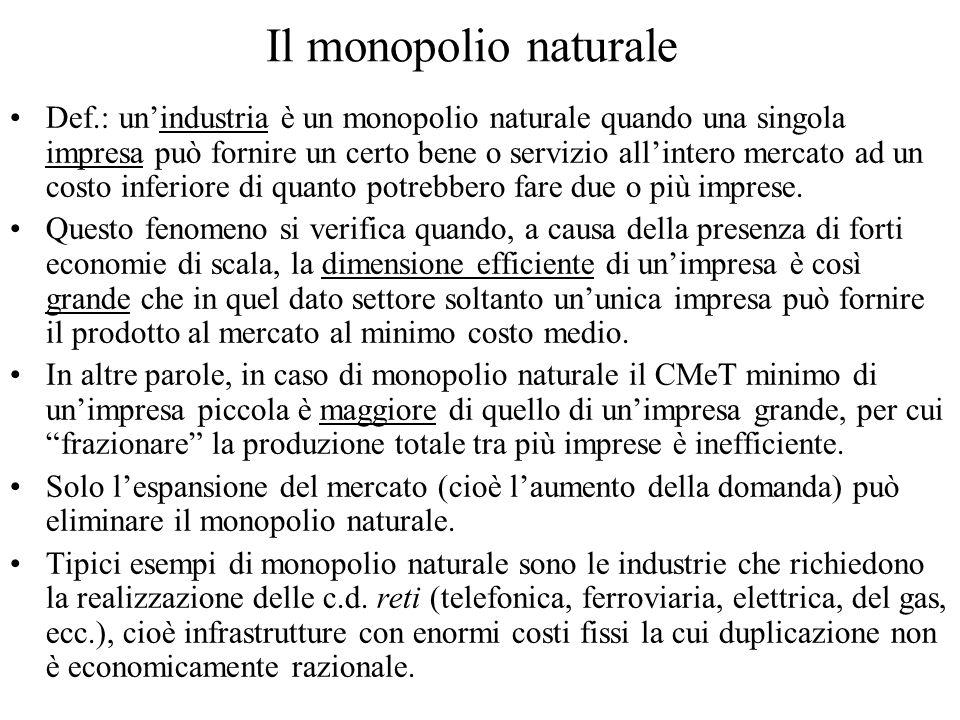 Il monopolio naturale Def.: unindustria è un monopolio naturale quando una singola impresa può fornire un certo bene o servizio allintero mercato ad un costo inferiore di quanto potrebbero fare due o più imprese.